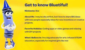 YInMn a devenit Bluetiful și este fetiță. Captură de pe site-ul Crayola