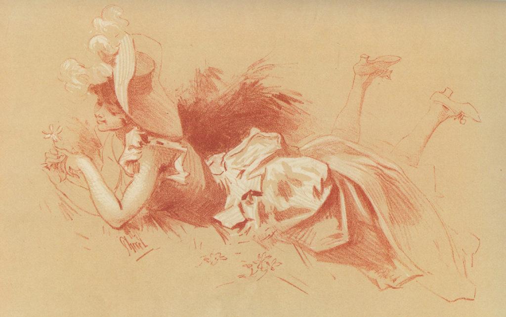 """Jules Chéret – """"Floare de primăvară"""", lucrare în stil Rococo distribuită ca supliment la """"Maîtres de l'affiche"""", 1897. Sursa foto: internationalposter.com."""