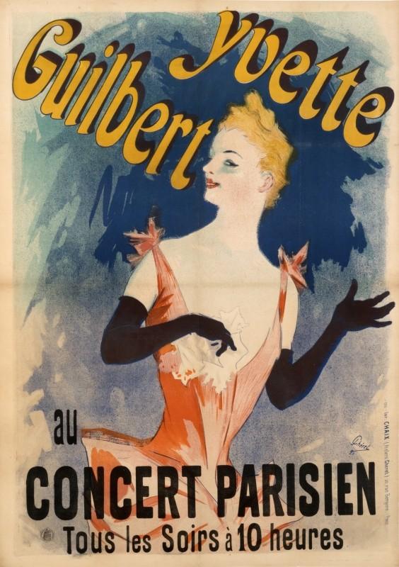Jules Chéret – Yvette Guilbert, 1891. Sursa foto: internationalposter.com.