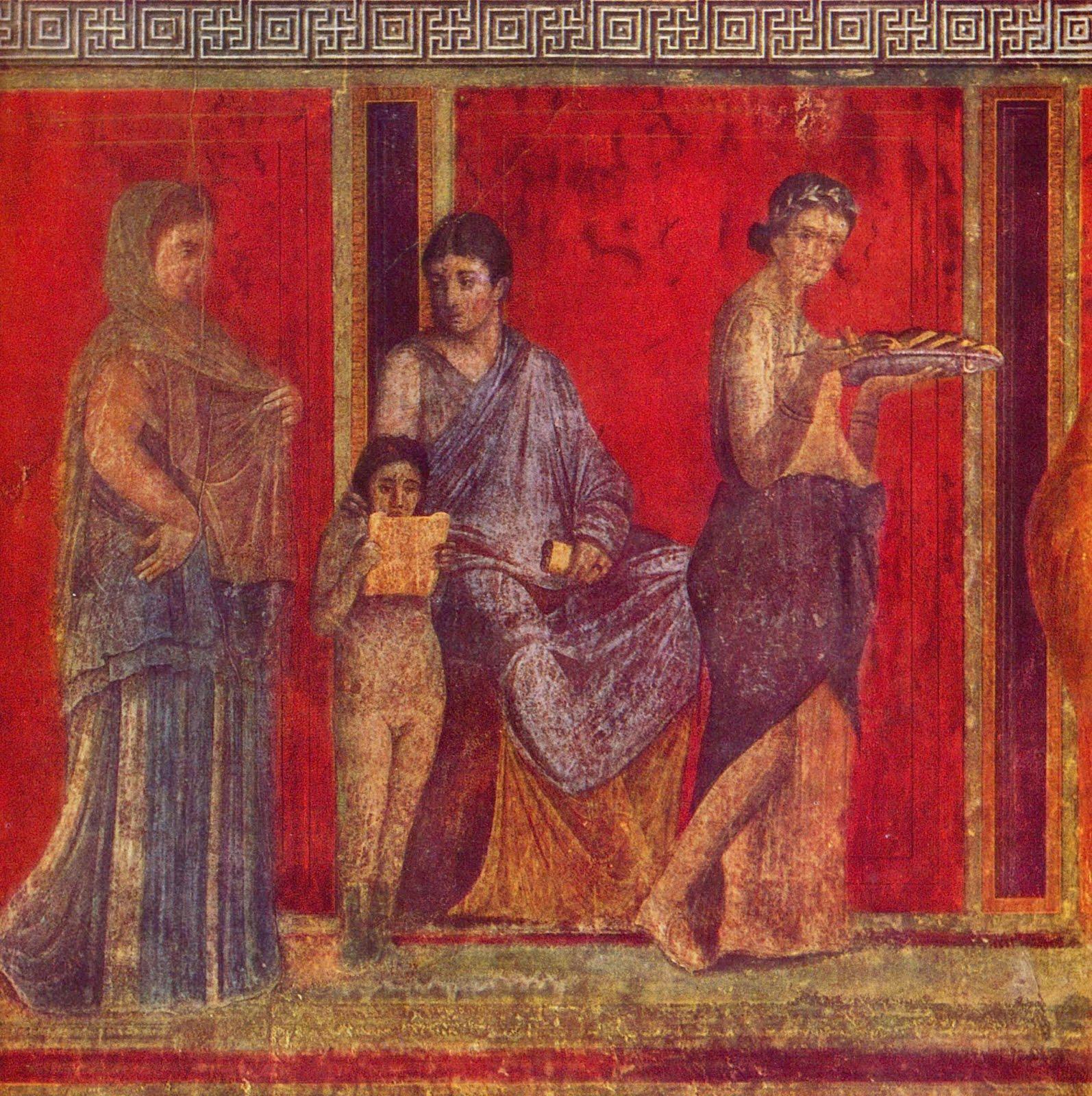 Pictură murală cu cinabru, Villa dei Misteri, Pompei. Sursa foto: Wikipedia