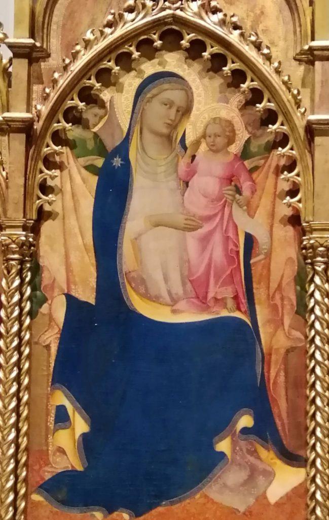 Lorenzo Monaco, poliptic, 1410, Florența, Galeria Academiei. Detaliu: Fecioara cu pruncul Isus. Foto: Irina Tomșa