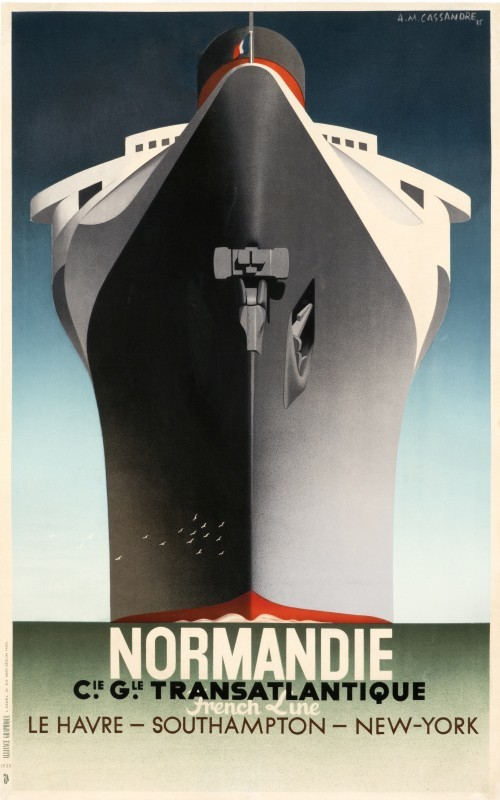 "A. M. Cassandre – ""Normandie"", cca. 1935. Sursa foto: internationalposter.com."