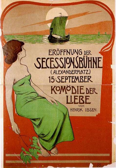 "Edmund Edel, afiș pentru ""Comedia iubirii"" de Ibsen, 1900. Sursa foto: de.wikipedia.org."