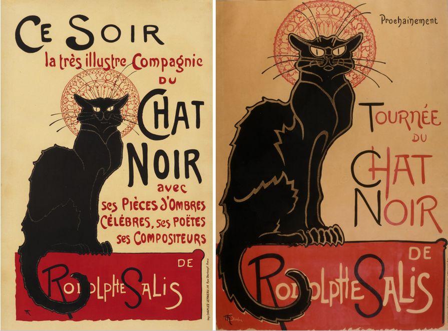 "Théophile Steinlen – afișele pentru ""Le chat noir"". Surse foto: internationalposter.com, googleartproject.com."