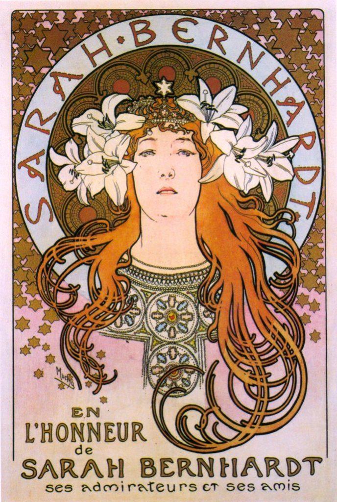 Mucha – afiș în onoarea lui Sarah Bernhardt din partea admiratorilor și prietenilor, 1896. Sursa foto: dvdbash.com.