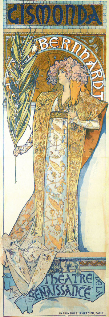 Alphonse Mucha – afișul pentru Gismonda cu Sarah Bernhardt, 1895. Sursa foto: dvdbash.com.