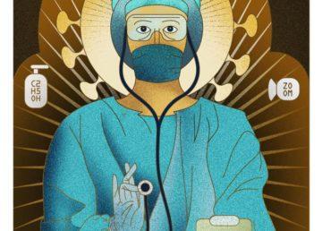 Medicul în chip de sfânt ortodox, execuție din campania creată de Wanda Hutira pentru agenția McCann