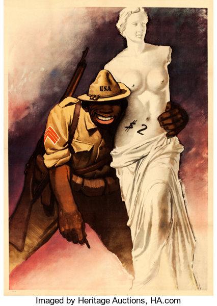 Gino Boccasile - afiș de propagandă antiamericană. Da, artistul era rasist.