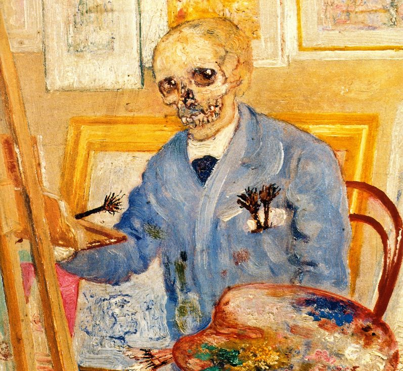 "James Ensor - ""Schelet la șevaletul gol"", detaliu."