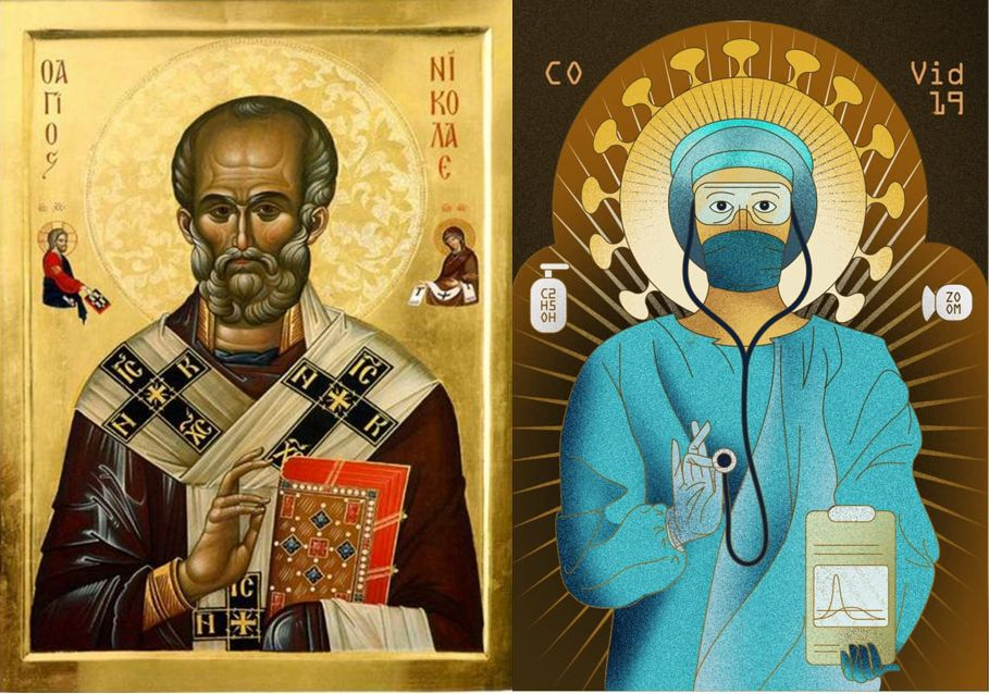Comparație imagini: Sf. Nicolae și Sf. Covid